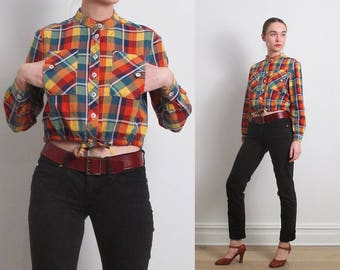 70s Cropped Vibrant Plaid Shirt / S