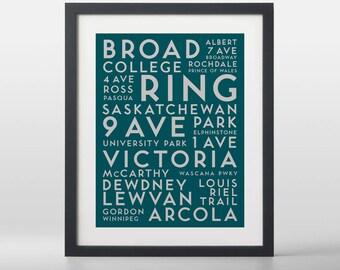 Regina City Streets Typography Art Print