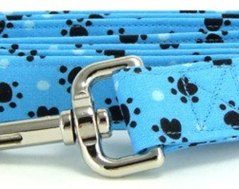 Aqua Blue Paw Prints Cotton Handmade Dog Leash