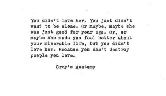 Grey's Anatomy You Didn't Love Her Hand Typed Vintage