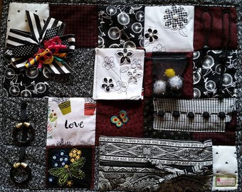 Classic Black and White Buttons and Bows Fidget Blanket