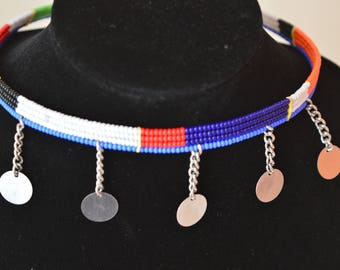 African Maasai Beaded  Choker Necklace |  African Beaded Necklace | Tribal Jewelry |  Charm Necklace | Multicolor Necklace | Gift For Her