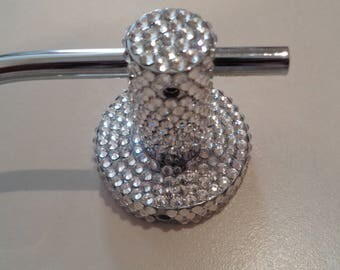 Toilet roll holder hand encrusted with luxury Preciosa crystals in clear