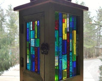 Stained Glass Mosaic Rustic Lantern