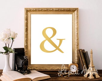 Printable art & - And print - Symbol - digital prints - nursery printable - instant download - modern print - wall prints Gold Printable Art