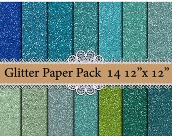 "SALE40% Mint Glitter digital paper: ""BLUE GLITTER Papers"" Mint Glitter Texture,Green Glitters,Printable Glitter,Glitter Backgrounds,chunky g"