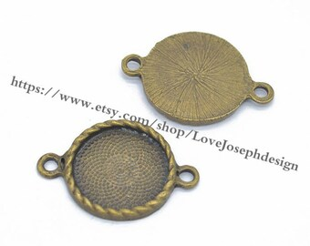 Wholesale 100 Pieces /Lot Antique Bonze  Plated 20mm cabochon blanks trays link connectors (#0310)