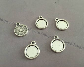 Wholesale 100 Pieces /Lot Antique Silver Plated 8mm(one side) cabochon trays charms(#0394)