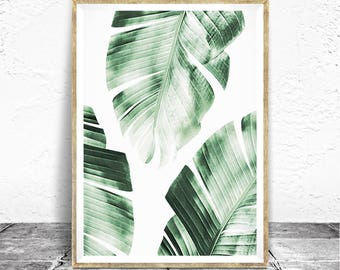 Banana Leaves Print, Tropical Wall Art, Modern Home Decor, Banana Leaves Printable, Banana Leaves Wall Decor, Tropical Greenery Wall Decor