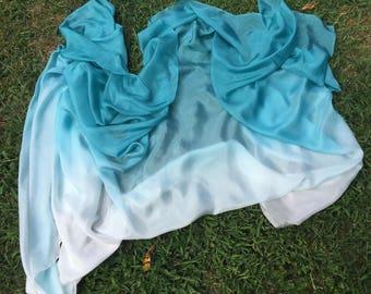 MADE TO ORDER Teal I Sea You Silk Bellydance Veil Bellydance Costume Veil