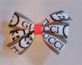 Designer inspired hair bow, green and red hair bow, G inspired hair bow, School bows, baby hair bows, g hair bows, baby headband