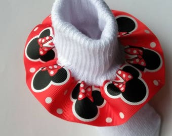 Minnie mouse inspired ruffle socks, polka dot socks, baby Minnie mouse socks, Character ruffle socks, party socks, photo prop, twodoles