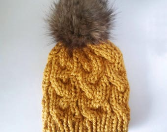 Mustard fitted cable hat, fitted cable beanie with faux fur pom, faux fur pom beanie, yellow hat, braided hat, gold winter beanie, rts hat