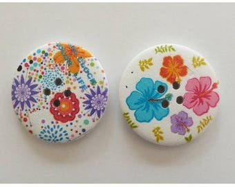 2 round buttons, sewing, scrapbooking floral 4 cm