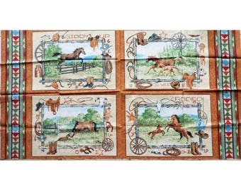 Fabric cotton pillows painting horse RANCH