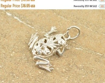 BIG SALE On Sale Articulated 3D Scroll Filigree Frog Charm / Pendant Sterling Silver 2.8g