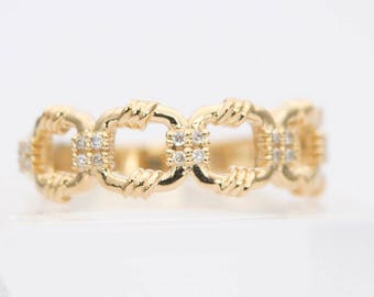 Diamond Connected Rings with Rope Style 18K Gold Wedding Band Ring AD1295