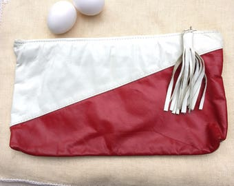 Vintage 90s Red & White Color Block Leather Clutch