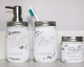 Mason Jar Bathroom Set Ball Mason Jars Rustic Bathroom Decor Set Housewarming  Gift