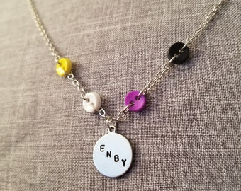 Button Love: Non Binary ENBY Pride Stamped Metal and Button Necklace
