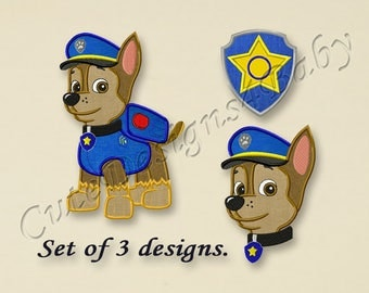 SALE! SET, Paw Patrol Chase applique embroidery design, Paw Patrol Machine Embroidery Designs, Embroidery designs for baby, 3 designs #023