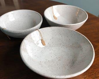 Set of Stacking White bowls of three sizes