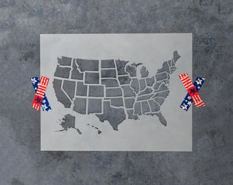 United States Map Outline Stencil - Reusable DIY Craft Stencils of the US Map with State Outlines