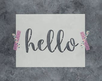 """Hello Stencil - Reusable DIY Craft Sign Stencils of the Word """"Hello"""" - Great for Walls and Home Decor"""