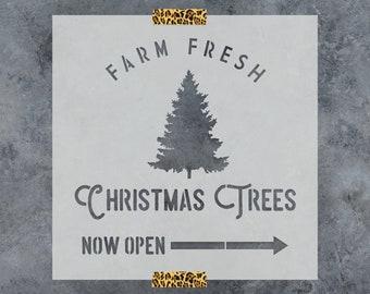Farm Fresh Christmas Trees Stencil - Reusable DIY Craft Christmas Sign Stencil Farm Fresh Christmas Trees