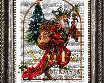 Yule Dictionary Art Print, Yule Blessings Wall Art, Yule Wall Decor, Pagan Yule Decoration, Pagan Christmas, Yuletide Blessings, Yule Gift