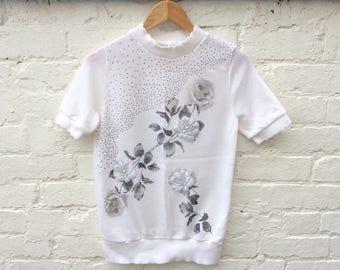 White floral sweater, vintage knitwear, women's fashion