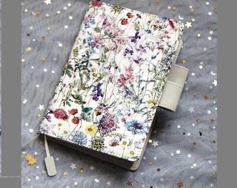 A5 / A6 Size Cover for Hobonichi Techo Japanese Design Planner, Organizer Notebook, Cloth Cover + PVC Cover on Cover, Blooming Flowers Theme