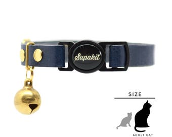 "Cat Collar - Leather Cat Collar - Cat Collar Breakaway - Cute Cat Collar - Cat Lover Gift - ""Midnight"" // PRIMARY collection"