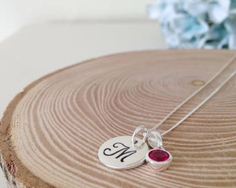 Birthstone necklace with a sterling silver handstamped disc