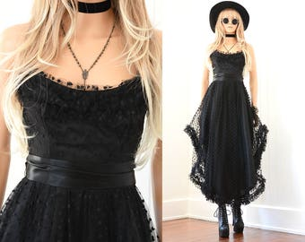 Black Lace Dress Tulle Prom dress Party Dress Lace Boho Dress Vintage Tulle Maxi Dress 90s Grunge Lace Dress Tulle Dress Black Dress XS S