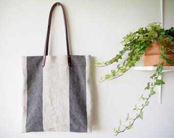 Linen Tote Bag, Linen Shoulder Bag, Linen Shopping Bag, Beach Tote Bag, Market Bag - Black Big Striped