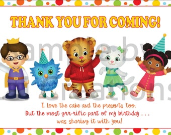 Customizable Daniel Tiger Thank you card, Daniel Tiger Thank you Notes Daniel Tiger Birthday, Daniel Tiger, Mister Rogers, Tiger Party