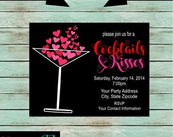 valentine cocktail kisses martini sweetheart hearts party invitations invites personalized custom we print and