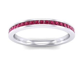 Channel-Set Ruby Ring, Extra-Thin Channel-Set Ruby Ring, Ruby Wedding Ring, Extra-Thin Channel-Set, Channel-Set Ring, Channel-Set