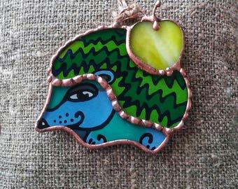 Hedgehog stained glass ornament, Hedgehog Suncatcher, Home Fall Decor, Thanksgiving Wedding Housewarming Gift, Woodland Animal, Glass Art