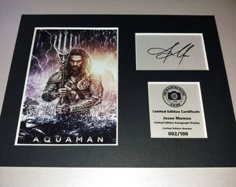 Jason Momoa - Aquaman - Justice League - Signed Autograph Display - Fully Mounted and Ready To Be Framed
