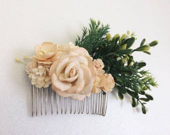 Cream,Champagne flower comb Rustic wedding hair accessory