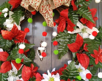 Poinsettia Wreath, Christmas Wreath, Holiday Wreath, Grapevine Wreath Vine Wreath