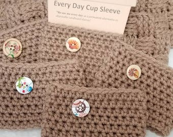Soft Taupe Crochet Cup Sleeve - Island Tourist Button Everyday Cup Sleeve in Driftwood