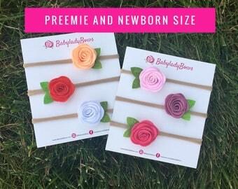 3 pack Preemie Headband, Newborn Headband set, Newborn Flower Headband, Preeme Flower, Felt Flower, Rose, Pink, Red, White, Peach, Purple