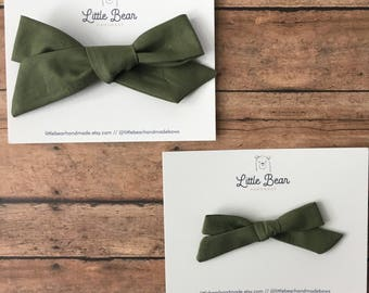 Army Green Hand-tied Bow, Choose Oversized or Petite, girl bow, toddler bow, baby bow, headband or clip