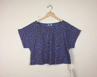 90s Purple Crop Top, Printed Crop Top, Crop Top L, Crop Top XL