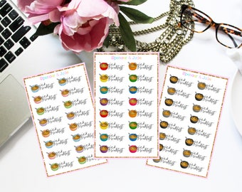 QUICK BREAKFAST - Watercolor Colorful, Pastel, or Neutral Cereal Planner Stickers with text / lettering