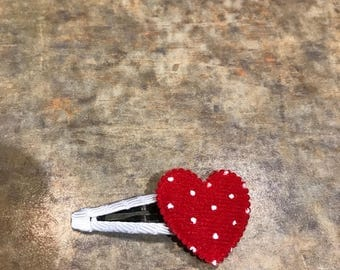 Red heart snap clip
