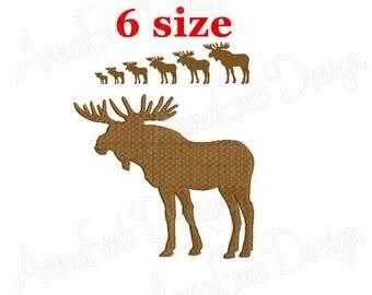 Moose Embroidery design. Moose Silhouette. Moose mini Embroidery. Deer design. Elk design. Machine Embroidery Design. Hunting Embroidery.